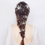 Alice Pearl and Silver Hair Pin with Crystals-The Luxe Bride Co