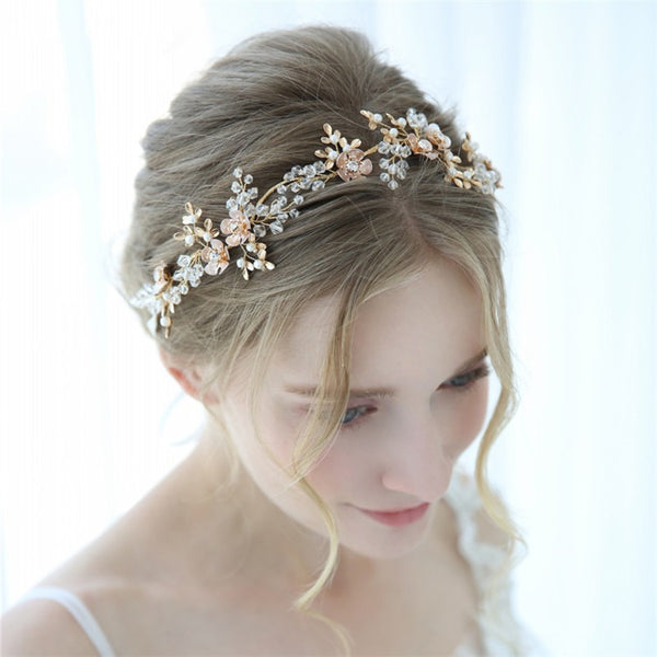 AMARA | Gold Flower Bridal Headband with Crystals