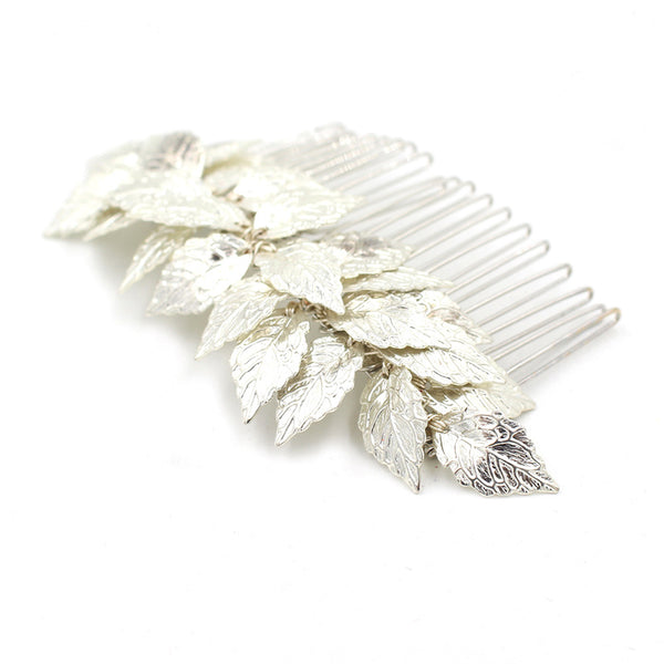 APHRODITE | Silver Leaf Comb - The Luxe Bride Co