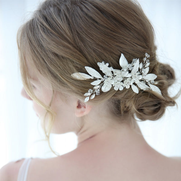AVA | Silver Flora Bridal Comb With Crystals - The Luxe Bride Co