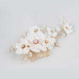 BLOSSOM | Gold & Cream Flower Comb- The Luxe Bride Co