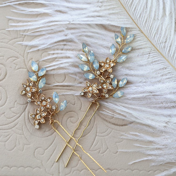 BLUEBELL | Gold Hairpins with Opal Crystals - The Luxe Bride Co