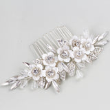 CAMILLE | Silver Flower & Leaf Comb With Crystals