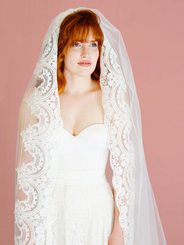 CARMELA VEIL | Cathedral Length Mantilla Veil - The Luxe Bride Co