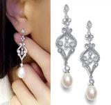 CARMEN | Crystal & Pearl Drop Earrings