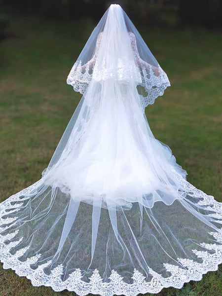 CATHERINE | 2 Tier Cathedral Length Lace Veil - The Luxe Bride Co