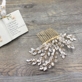 CELESTE | Crystal & Bead Hair Comb in Gold - The Luxe Bride Co