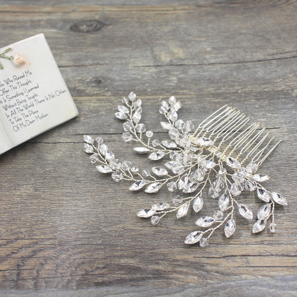 CELESTE | Crystal & Bead Hair Comb in Silver - The Luxe Bride Co