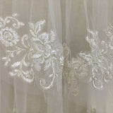 CHANTAL | Appliqué Elbow Length 2 Tier Veil - The Luxe Bride Co