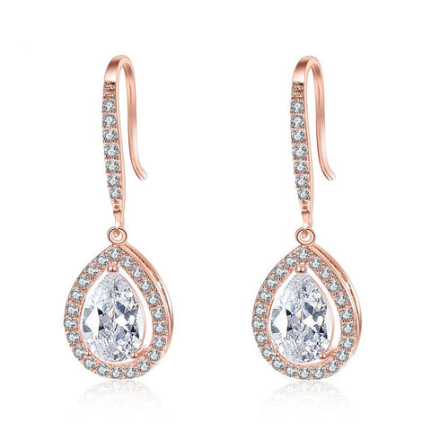 CLAUDETTE | Crystal Drop Earrings in Rose Gold or Silver
