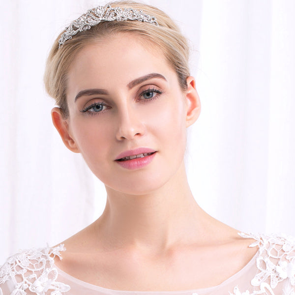 COLETTE | Classic Tiara With Austrian Crystals - The Luxe Bride Co
