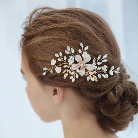 DELILAH | Gold & Pastel Floral Hair Comb - The Luxe Bride Co