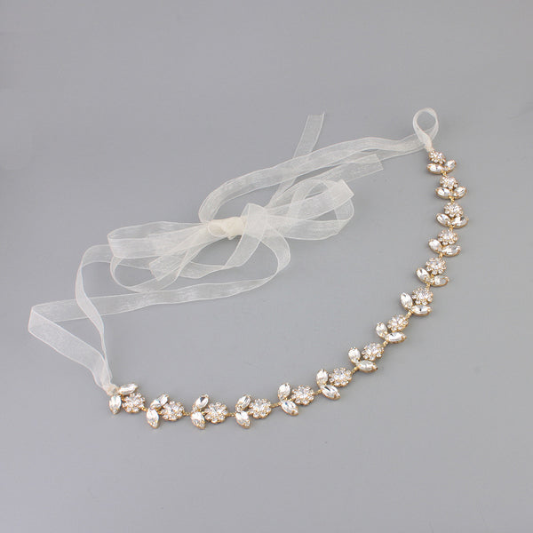 ELIZA | Crystal Wedding Headband in Gold - The Luxe Bride Co