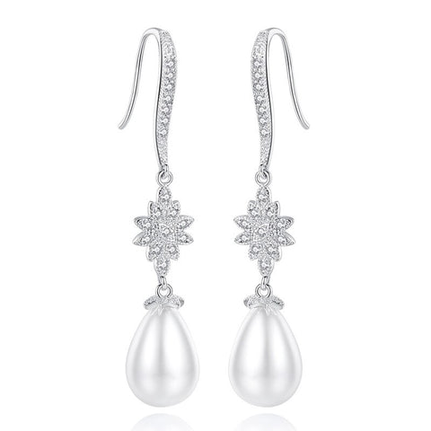 EVA | Pearl And Crystal Drop Earrings