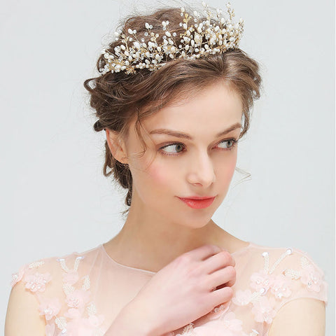 FLEUR | Freshwater Pearl & Crystal Tiara- The Luxe Bride Co
