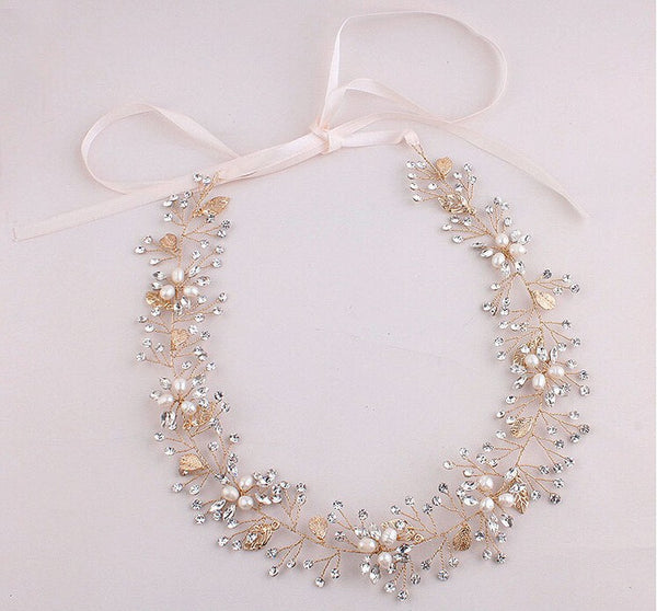 FLORENCE | Freshwater Pearl & Crystal Headband in Gold- The Luxe Bride Co