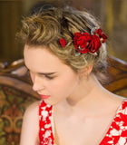 GABRIELLA | Red Floral Headpiece in Gold - The Luxe Bride Co