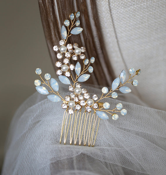 ISABELLA | Gold Opal Crystal Comb - The Luxe Bride Co