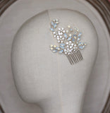 ISABELLA | Silver Opal Crystal Comb - The Luxe Bride Co