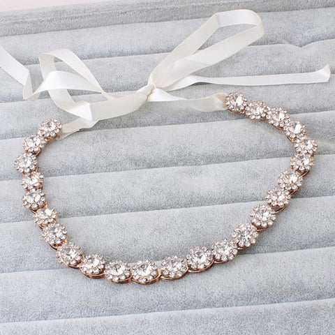 JEWEL | Sparkling Headband with Ribbon- The Luxe Bride Co