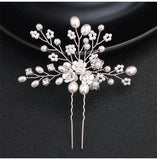 Lexi Pearl & Flower Bridal Hair Pin in Silver- The Luxe Bride Co