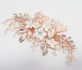 LARA | Porcelain Flower Comb in Silver or Rose Gold