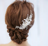 LARA | Floral Bridal Comb with Crystals- The Luxe Bride Co