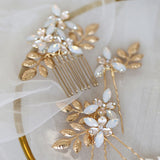 Layla Crystal Comb & Pin Set in Silver or Gold