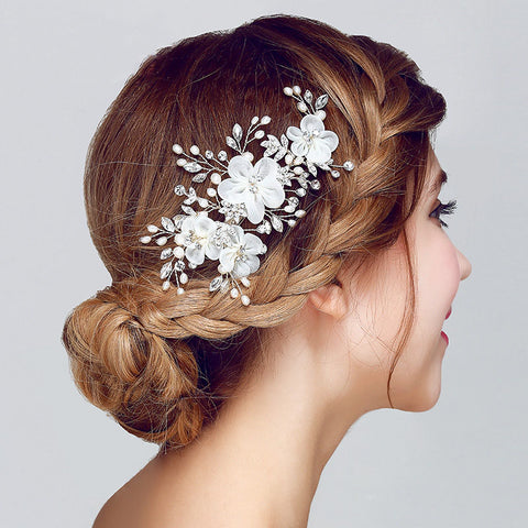 LILIAN | Floral Headpiece with Pearls & Crystals