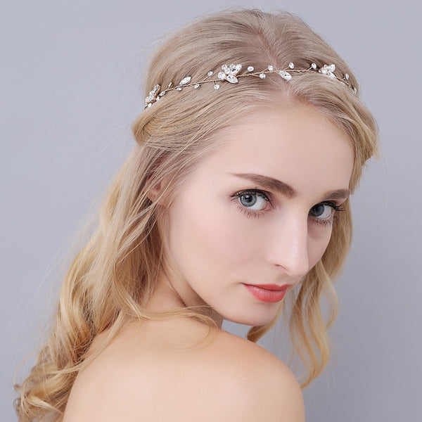 LUCY | Austrian Crystal Wedding Headband in Gold - The Luxe Bride Co