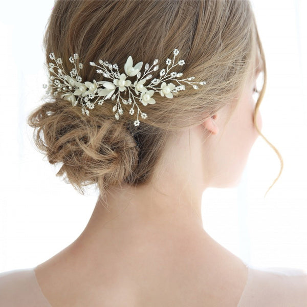 LYDIA | Floral, Crystal & Beaded Hair Pins - The Luxe Bride Co