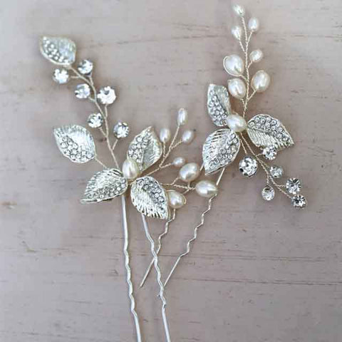 MARTINA | Freshwater Pearl Silver Leaf Hair Pins - The Luxe Bride Co