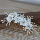 MILA | Ivory Porcelain Combs in Gold
