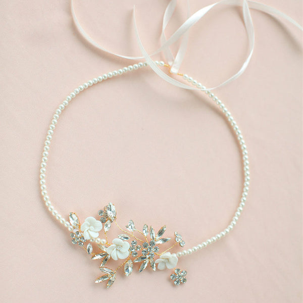 PENELOPE | Pearl & Floral Headband - The Luxe Bride Co