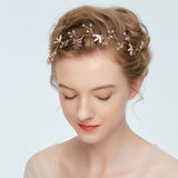 POLLY | Crystal Handmade Headband in Gold - The Luxe Bride Co