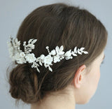 POSY | Porcelain Floral Headpiece in Silver