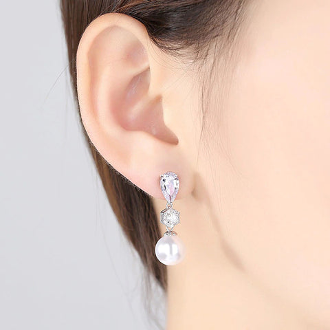 RITA | Pearl and Crystal Earrings