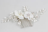 ROSALIE | Silk Floral Comb with Crystals- The Luxe Bride Co