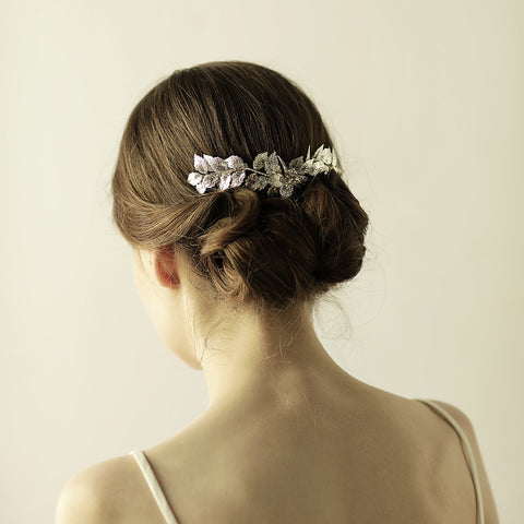 ROYAL | Silver Leaf Wedding Comb With Crystals- The Luxe Bride Co