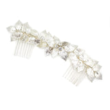 ROYAL | Silver Leaf Wedding Comb With Crystals - The Luxe Bride Co