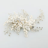 SILVIA | Freshwater Pearl Headpiece in Silver - The Luxe Bride Co
