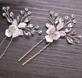 SPRING | Flower Headpiece or Hair Pins with Austrian Crystals in Gold, Rose Gold or Silver