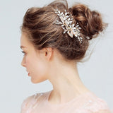 Spring Light Rose Gold Flower Headpiece with Austrian Crystals- The Luxe Bride Co