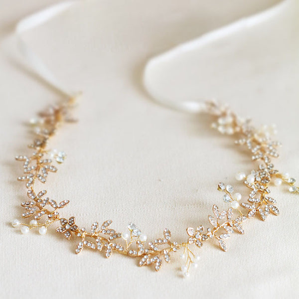 Victoria Vintage Style Headband with Crystals in Gold- The Luxe Bride Co