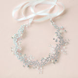 Victoria Vintage Style Headband with Crystals in Silver- The Luxe Bride Co