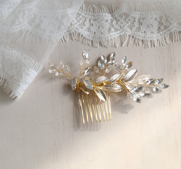 Vivienne Leaf Headpiece in Gold with Crystals- The Luxe Bride Co