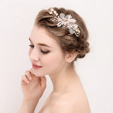 Bliss Gold Flower Wedding Hair Clip with Freshwater Pearls- The Luxe Bride Co