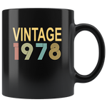 Vintage 1978, happy birthday black gift coffee mug