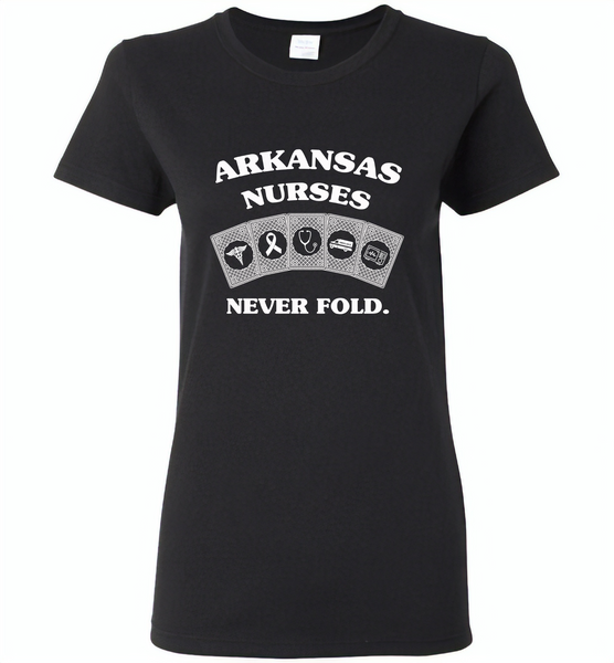Arkansas Nurses Never Fold Play Cards - Gildan Ladies Short Sleeve