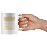 March born facts servings per container, born in March, birthday gift white coffee mugs